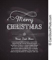 retro, cartão cumprimento, fundo, modelo, natal, feliz, chalkboard