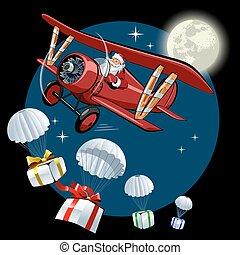 retro, cartão natal, caricatura