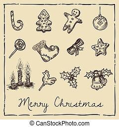 retro, cartão natal