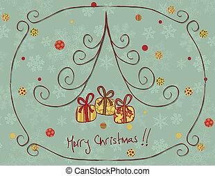 retro, cartão, natal