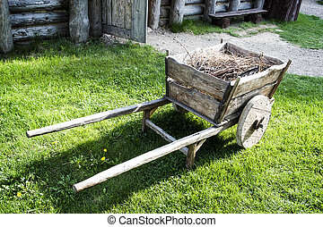 Retro Cart with Brushwood - Vintage cart with brushwood in ...
