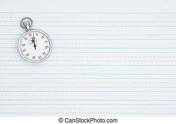 retro, carta rivestita, con, uno, cronometro