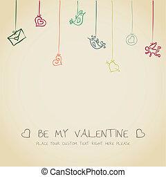 retro, carte, valentin