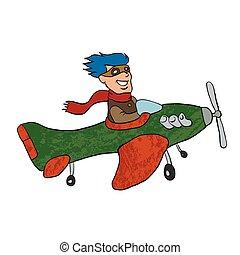 retro cartoon airplane.