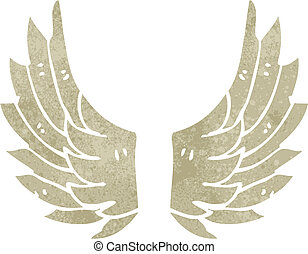 retro cartoon angel wings