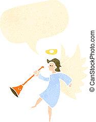 retro cartoon angel with trumpet
