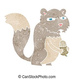 retro cartoon angry squirrel with nut