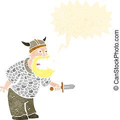 retro cartoon angry viking