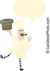 retro cartoon baker with bread