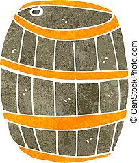 retro cartoon beer barrel - Retro cartoon illustration. On...