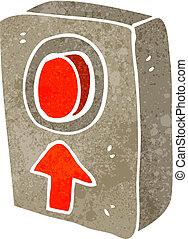 retro cartoon big red push button