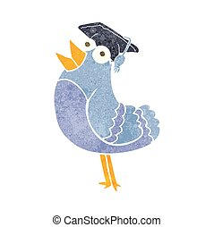 retro cartoon bird wearing graduation cap