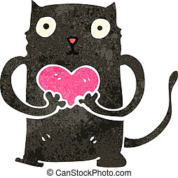 retro cartoon black cat with love heart
