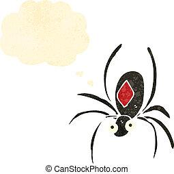 retro cartoon black widow spider