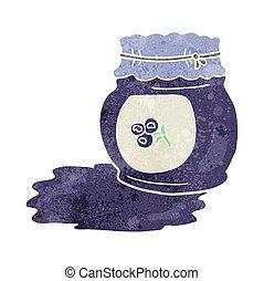 retro cartoon blueberry jam