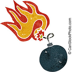 retro cartoon bomb symbol with burning fuse