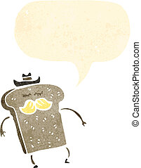 retro cartoon bread cowboy character