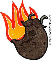 retro cartoon burning fake beard