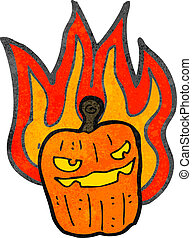 retro cartoon burning halloween pumpkin