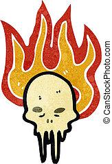 retro cartoon burning skull