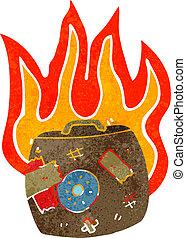 retro cartoon burning suitcase