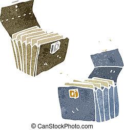 retro cartoon business brief case