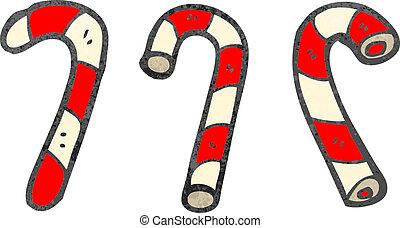 retro cartoon candy canes