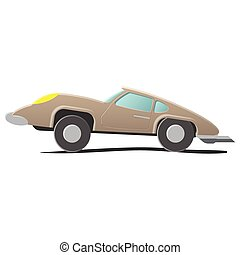 Retro cartoon car. Illustration isolated on white background