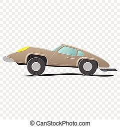 Retro cartoon car. Illustration on transparent background