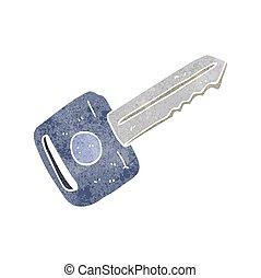 retro cartoon car key - freehand retro cartoon car key