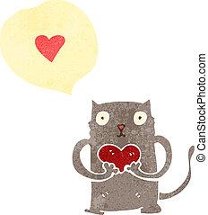 retro cartoon cat in love