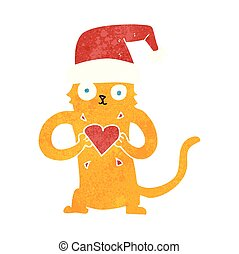 retro cartoon cat loving christmas