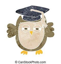 retro cartoon clever owl