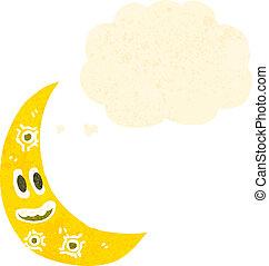 retro cartoon crescent moon with face