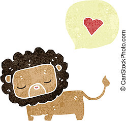 retro cartoon cute lion with love heart
