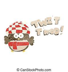 retro cartoon cute owl singing twit twoo