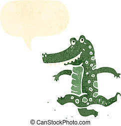retro cartoon dancing crocodile