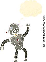retro cartoon dancing robot