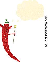 retro cartoon devil chili