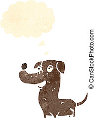 retro cartoon dog with thought bubble