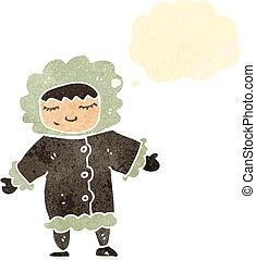 retro cartoon eskimo with thought bubble