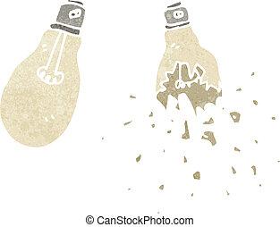 retro cartoon exploding light bulb