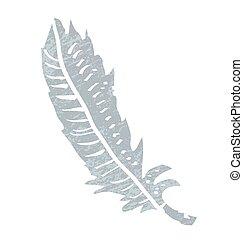 Retro cartoon feather. Vector illustration on white background.