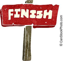 retro cartoon finish sign