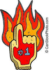 retro cartoon flaming foam sports hand