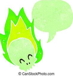 retro cartoon flaming green skull