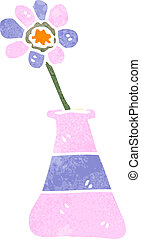retro cartoon flower in vase - Retro cartoon illustration....