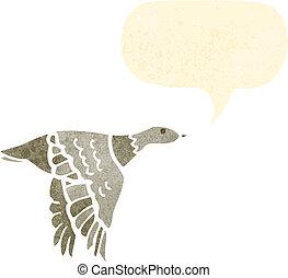 retro cartoon flying duck