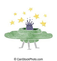 retro cartoon flying saucer