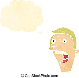 retro cartoon gasping man with thought bubble